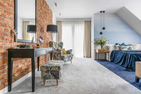 styl nowoczesny sypialnia błękit