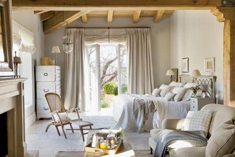 w prowansalskim stylu sypialnia tkaniny len
