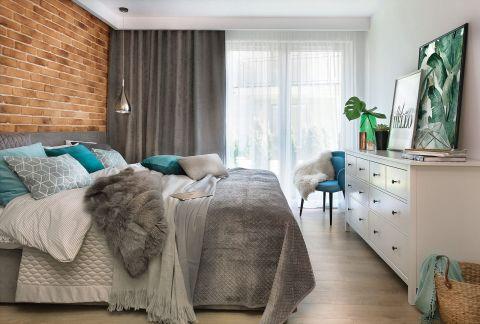 nowoczesne wnętrze sypialnia cegła