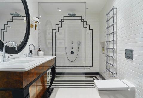 łazienka w stylu art deco i nowojorskim