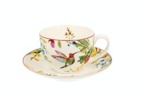 porcelanowa filiżanka ze spodkiem w kwiaty