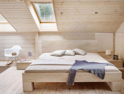 skandynawski styl sypialnia drewno