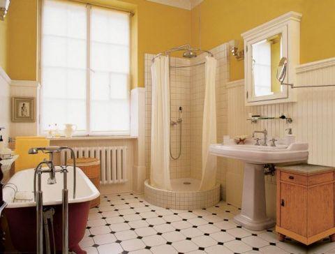 W łazience wanna i prysznic. Nowy Świat jak Nowy Jork
