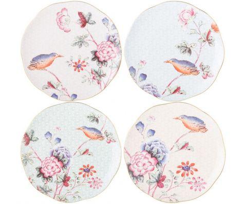 komplet talerzy deserowych w kwiaty