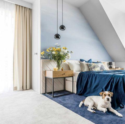 sypialnia błękit nowoczesna