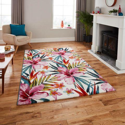 dywan tropikalne kwiaty
