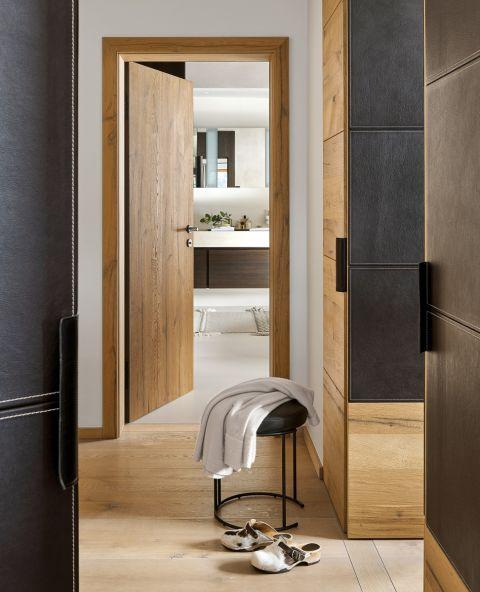 styl chalet drewniana łazienka