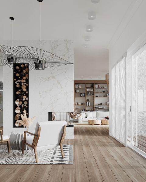 biały salon z kominkiem i drewnem