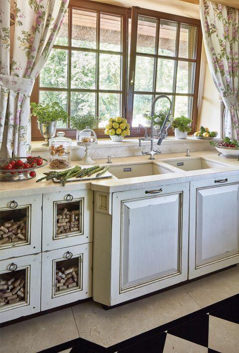 dom w stylu country kuchnia kamienny blat