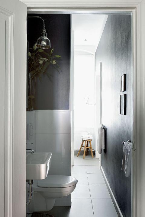 grafitowa łazienka  wystrój