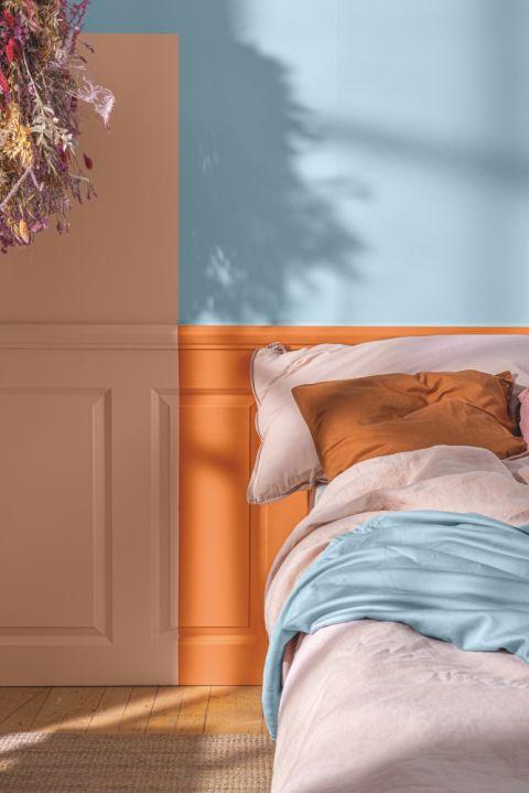 kolorowe panele ścienne w sypialni