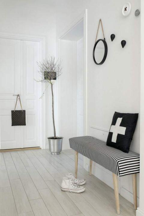 styl skandynawski biały hol/ przedpokój