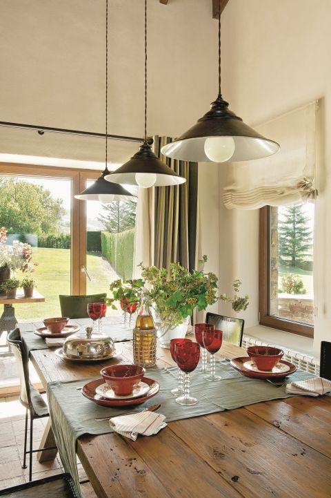 w rustykalnym stylu jadalnia lampy