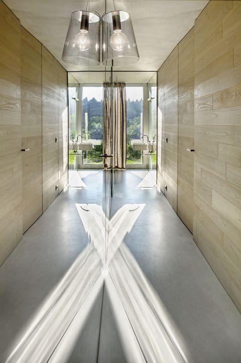 nowoczesny dom salon szkło widok