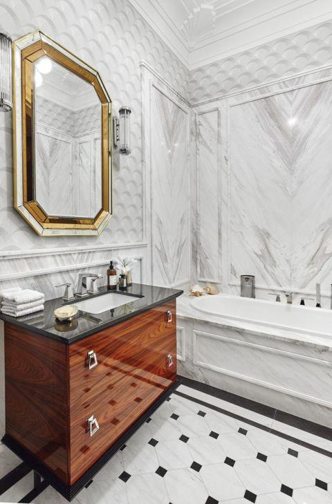 lustro łazienkowe w stylu art deco