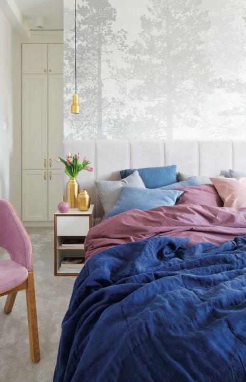 nowoczesna sypialnia pastele