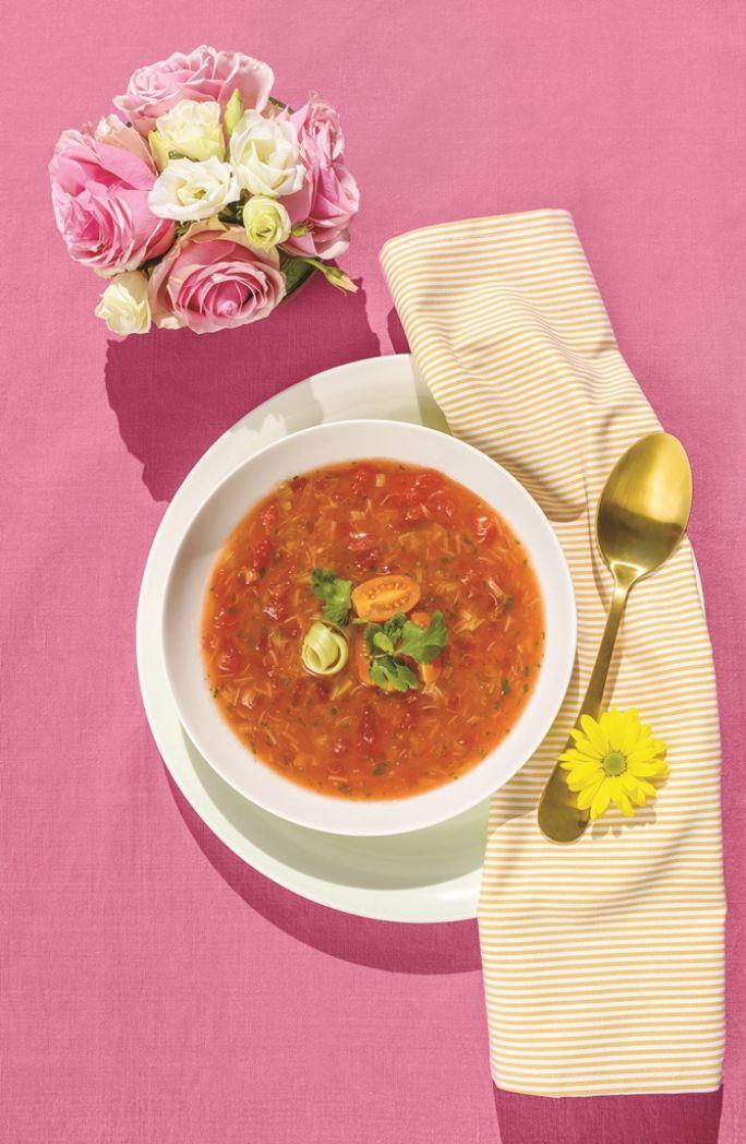 Chłodnik z pomidorów i rabarbaru