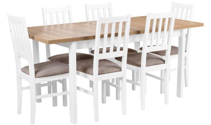 zestaw stół rozkładany z krzesłami dla 6 osób, blat w kolorze dąb lefkas - birdmeble.pl