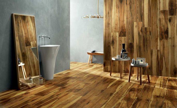 nowoczesne płytki łazienkowe drewnopodobne