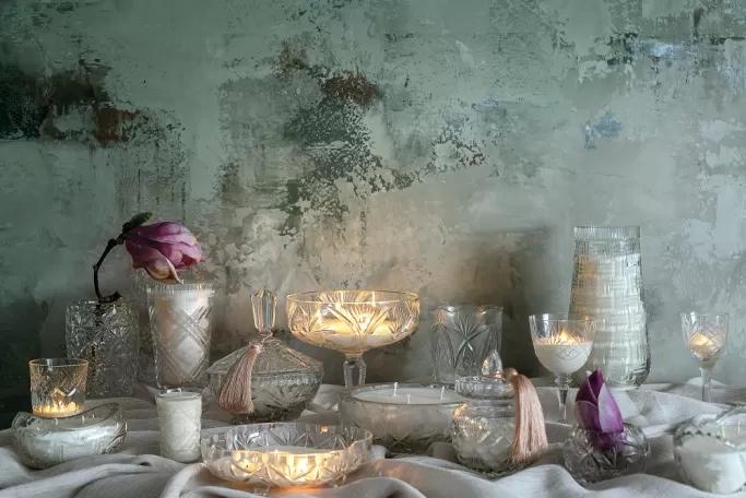 świece w kryształach vintage
