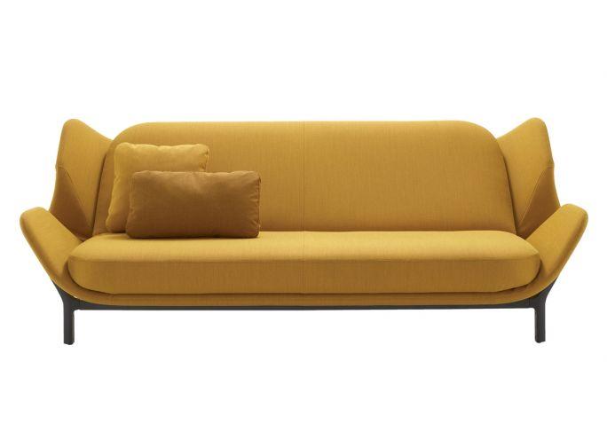 żółta rozkładana sofa