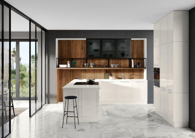 kuchnia nowoczesna biała z drewnem