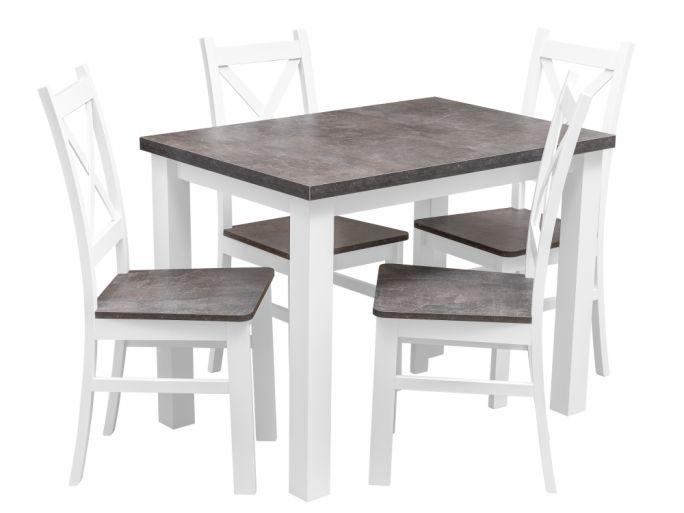 zestaw stół z krzesłami dla 4 osób, blat w kolorze beton - birdmeble.pl