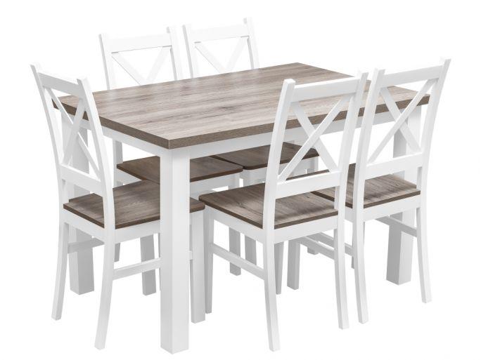 zestaw stół z krzesłami dla 6 osób, blat w kolorze san remo - birdmeble.pl