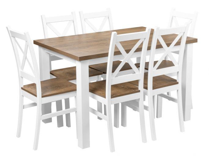 zestaw stół z krzesłami dla 6 osób, blat w kolorze dąb lefkas - birdmeble.pl