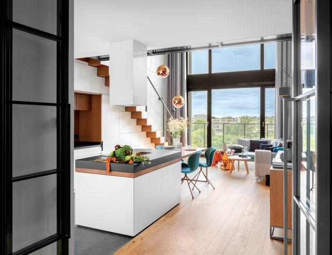 biała kuchnia w stylu loft