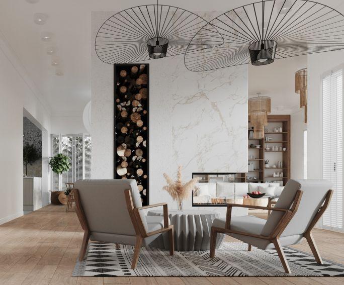 salon z kominkiem w stylu nowoczesnym