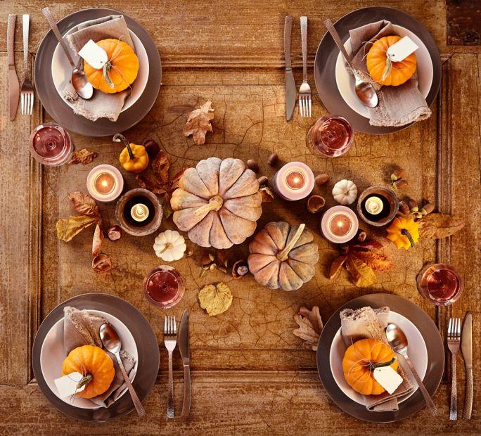 dekoracje jesienne na stół