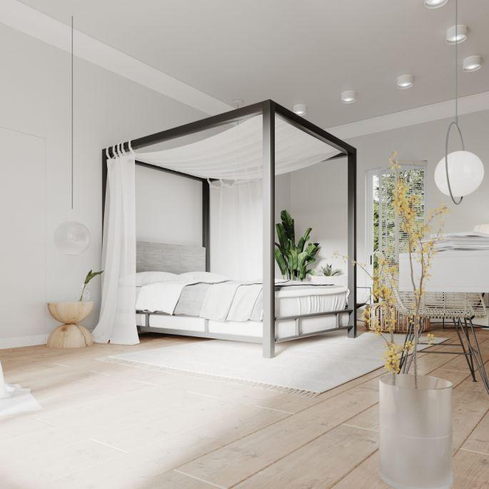 aranżacja wnętrz biała sypialnia