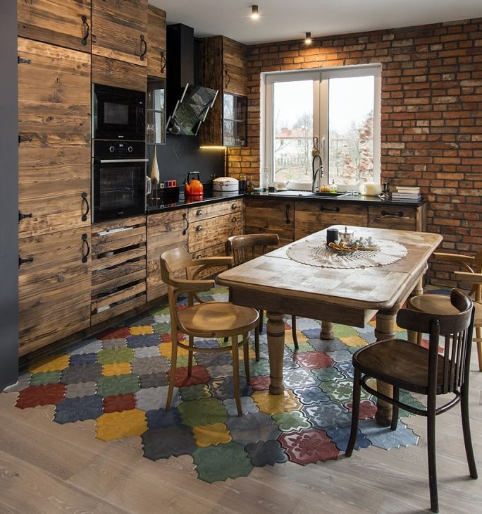 szafki kuchenne z odzyskanego drewna