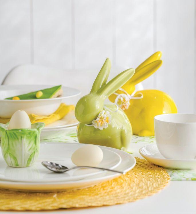 żółty zielony stół wielkanocny