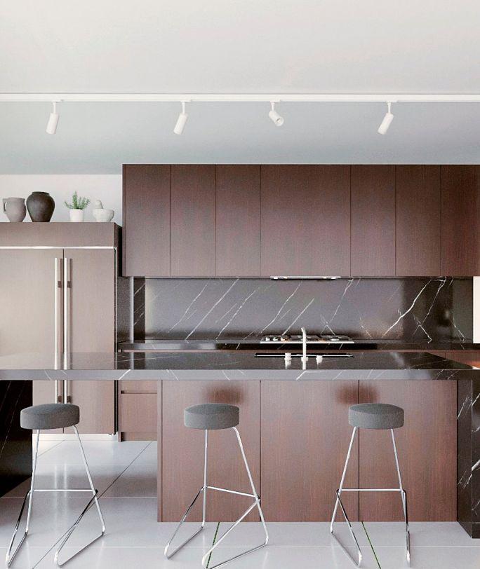 oświetlenie szynowe w kuchni