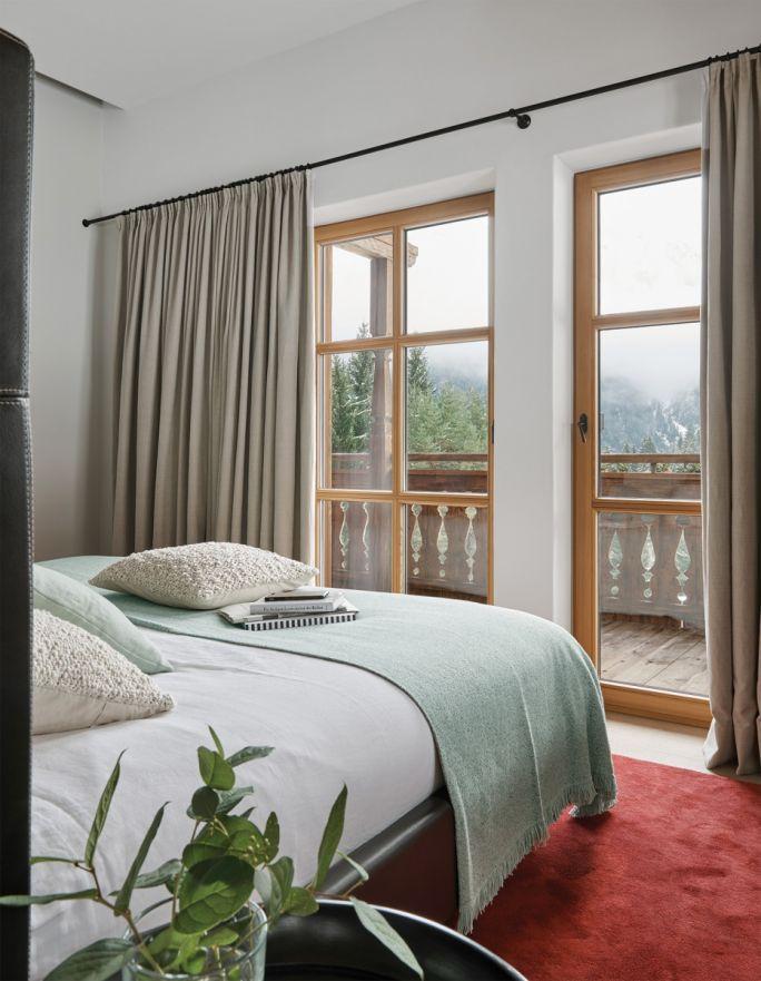 styl chalet wnętrza sypialnia