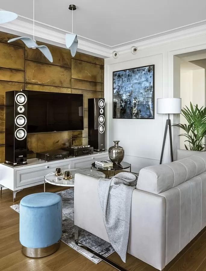 ściana telewizyjna w salonie aranżacje