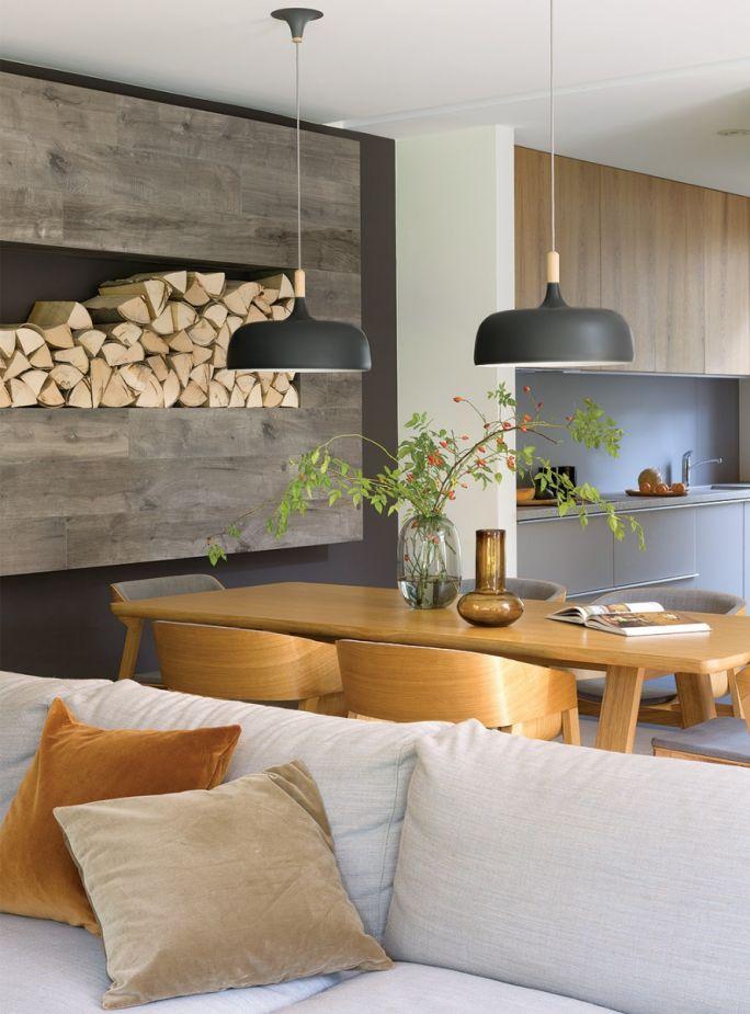 salon w drewnie i kamieniu