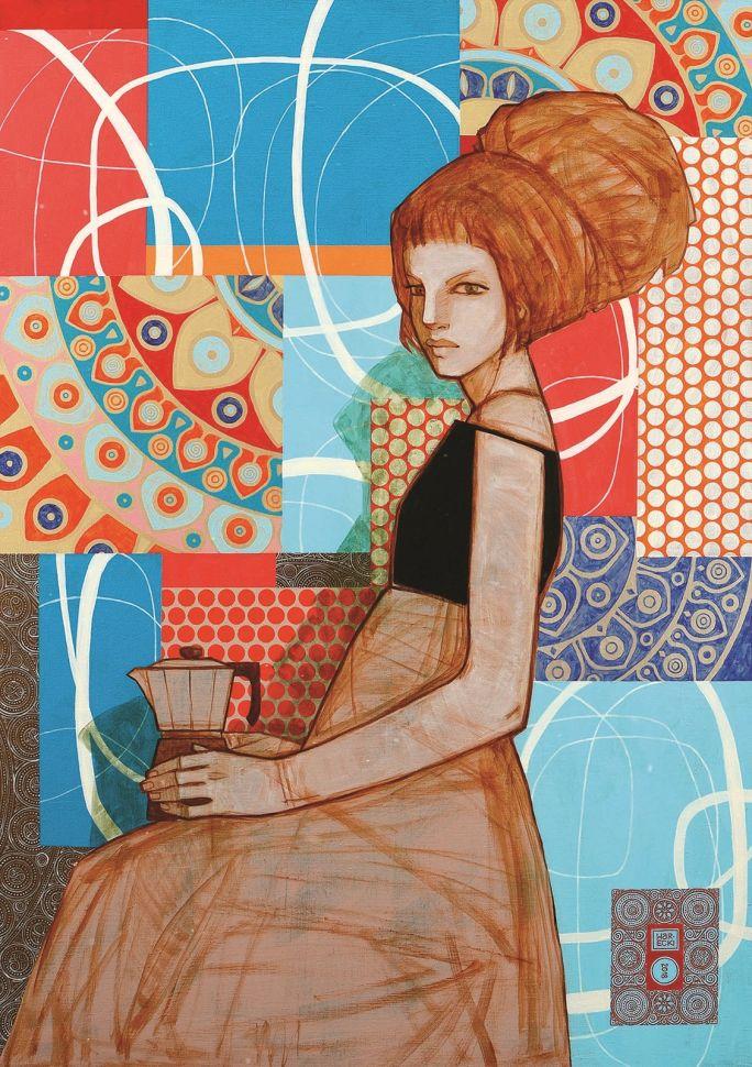 """""""Kawiarka"""", 65 x 92 cm, akryl na płótnie"""