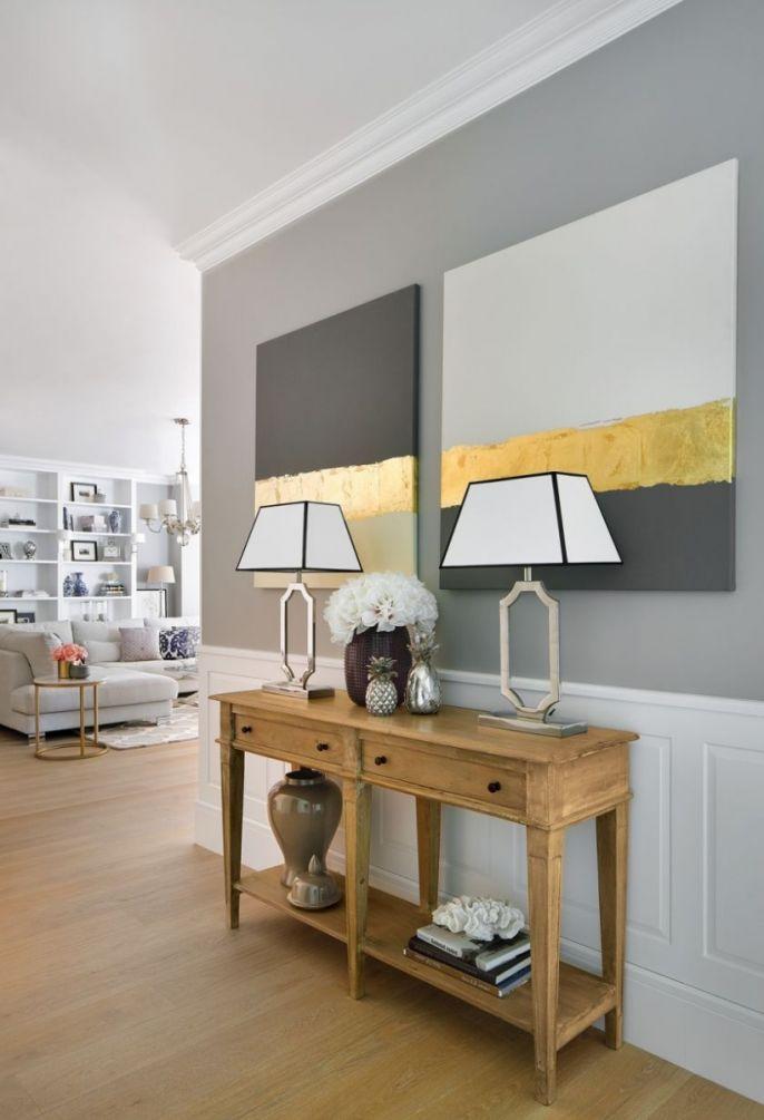 pomysł na ściany w przedpokoju lamperia