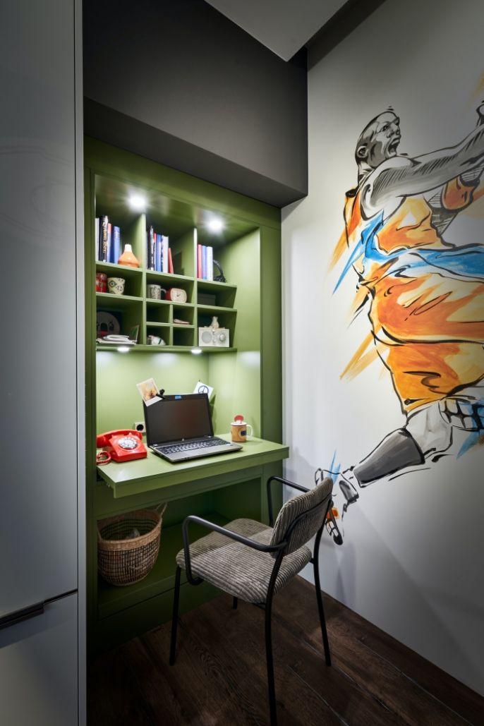 małe domowe biuro w kuchni