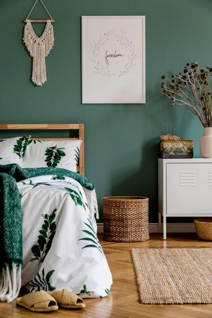 zielone ściany w sypialni zdjęcia