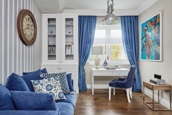 niebieskie dekoracje i dodatki w stylu Hamptons