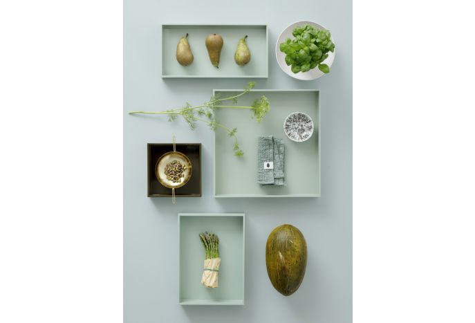 Dekoracyjna taca z laki zielona