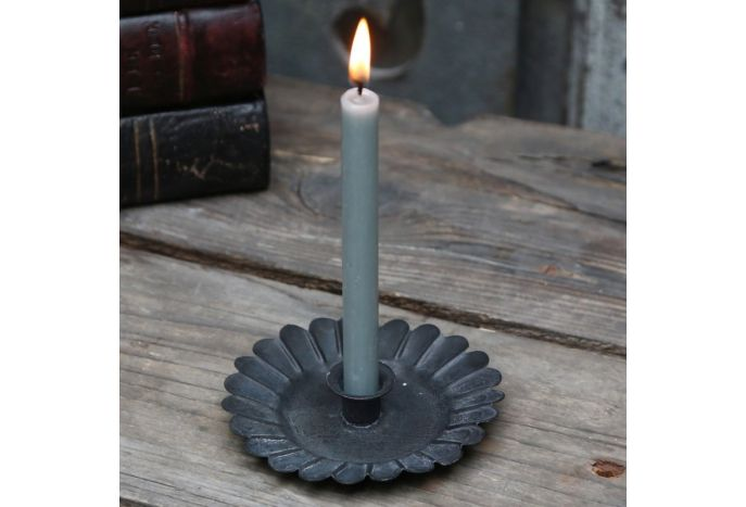Świecznik metalowy grafitowy na cienkie świeczki