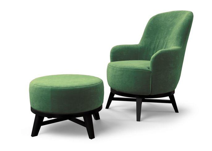 tapicerowany fotel z podnóżkiem