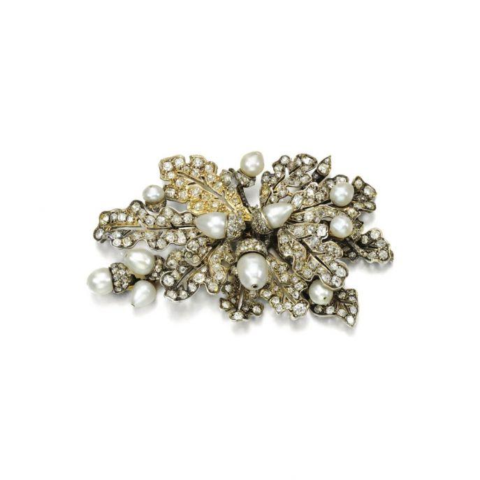 Diamentowa broszka z perłami, koniec XIX w.