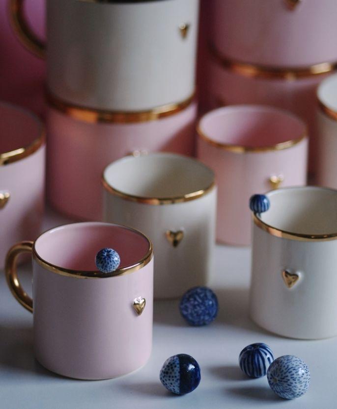 Ceramiczne kubki z kolekcji In Love, Karolina Szeląg, karolinaszelag.eu