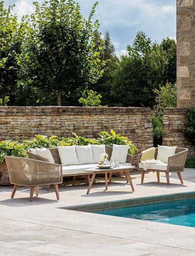 Zestaw ogrodowy COLWELL – sofa, dwa fotele i stolik kawowy, gardentrading.co.uk